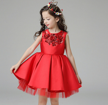 Fashion Girls Party Wear Red Dress Kids Princess Wedding ...