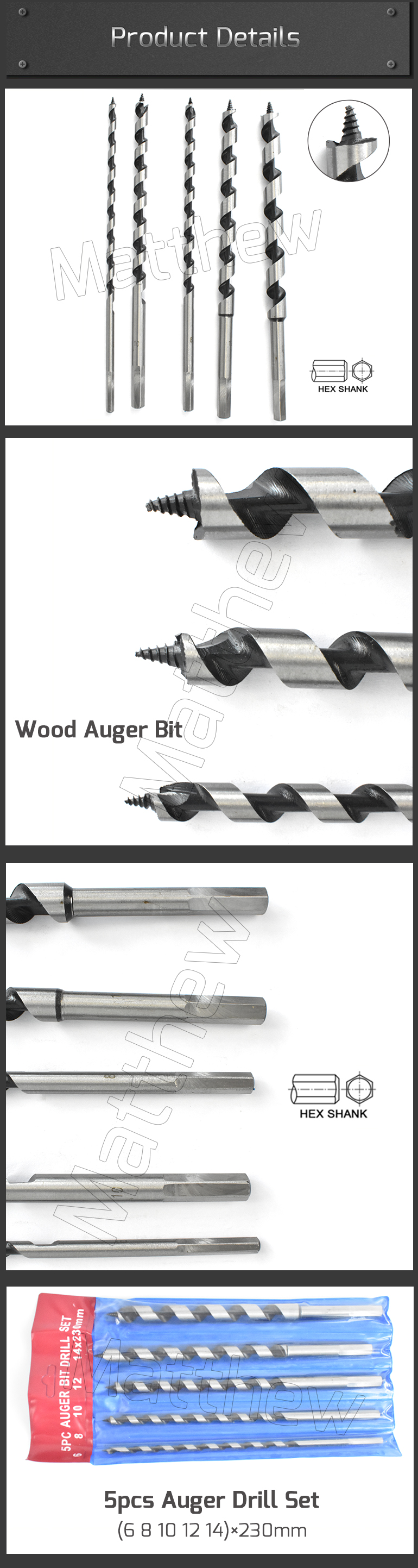 Single Flute Wood Auger Drill Bits for Wood Deep Drilling