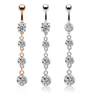 New Products Nice Flower Design Piercing Septum Long Pregnancy Navel Dangle Circle Shaped Stainless Steel Belly Button Ring