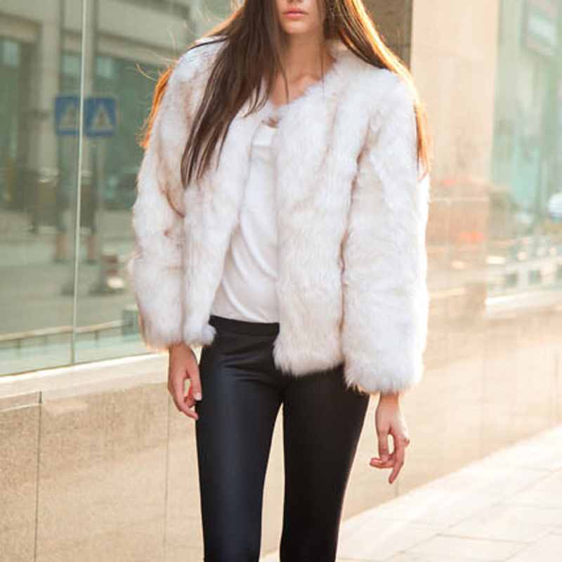 White faux fur jacket for women