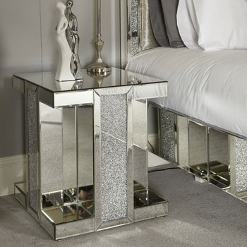 Factory Price Crystal Diamond Crush Modern Design Mirrored Bedside Table