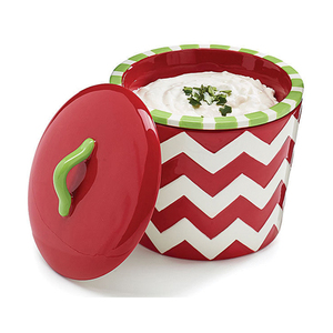 Christmas red chevron ceramic dip chiller