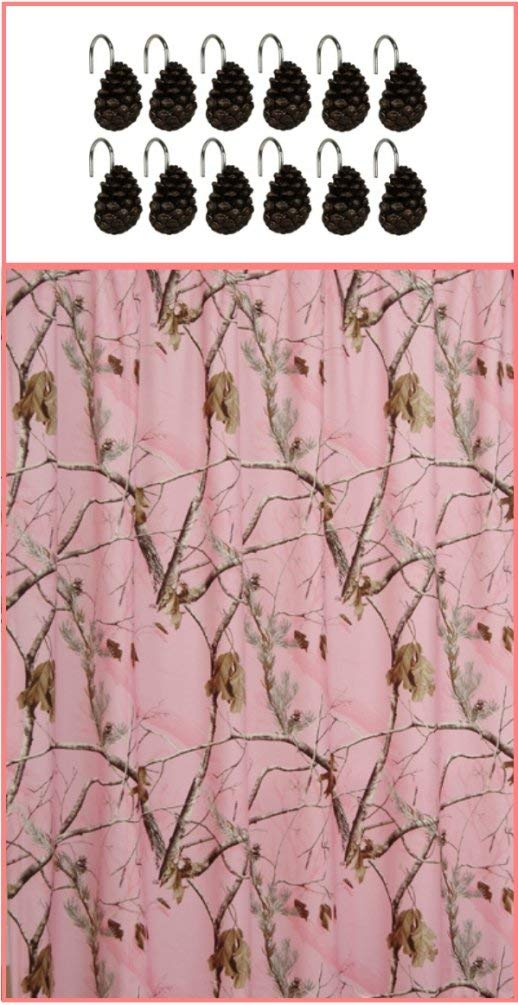 Realtree AP Pink Camo Shower Curtain With Pine Cone Hooks Set