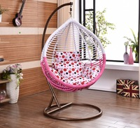 Rattan Egg Shaped One Person Seat Hanging Swing Chair With Cushion