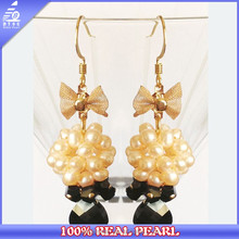 13mm pearl bow earrings with agate