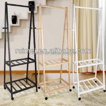 2 Tiers Practical Bedroom Clothes Rack Wooden Stand