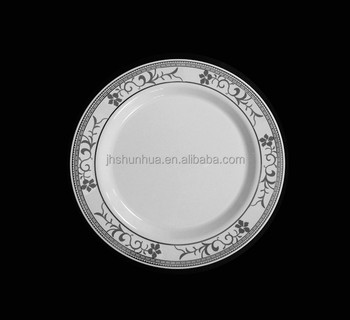 Elegant HOT STAMP Plastic Party Plate (silver flower),disposable PS charger plate./wedding tableware