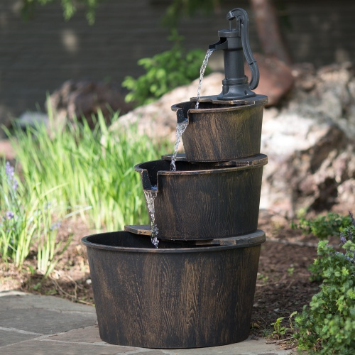 2 3 Tier Garten Jardin Garden decoration barrel solar home garden outdoor water fountain with wooden effect