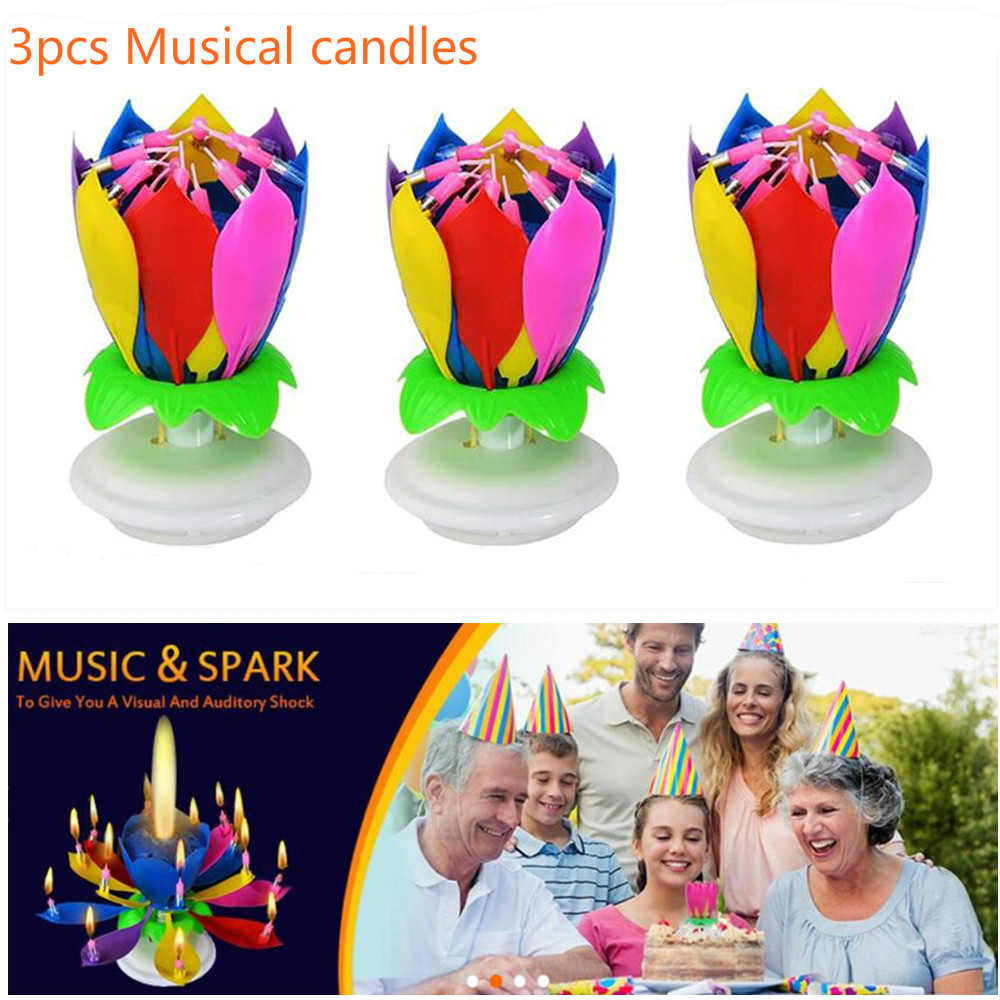 Birthday Candles 8pcs Musical Candle Lotus Rotating Play Happy To You Multi Color