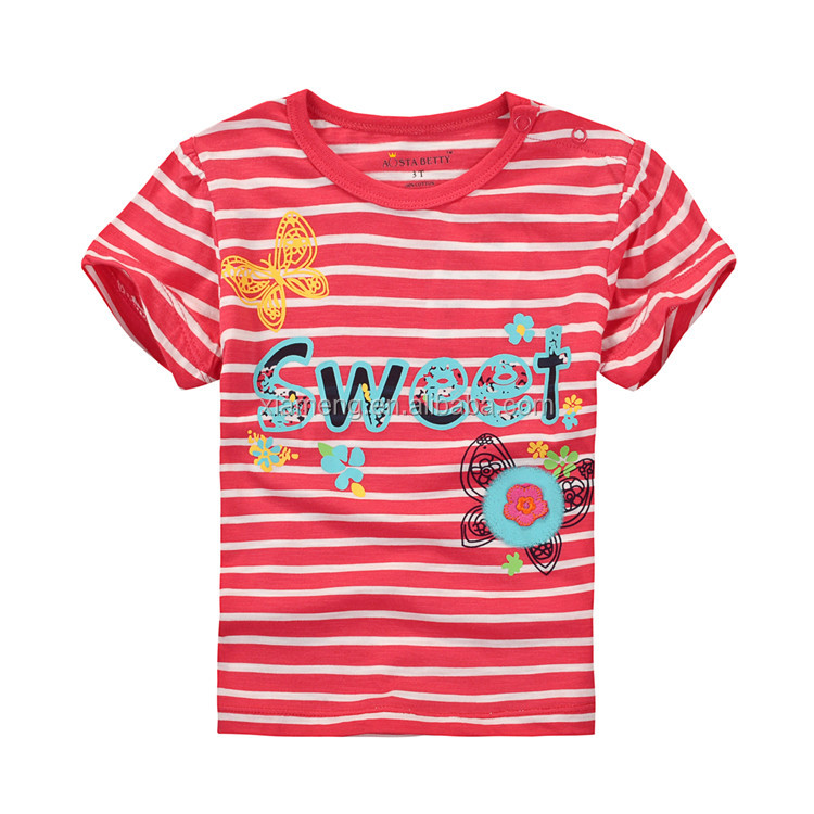 2017 new arrival cotton words printing design Breathable korea children t-shirt