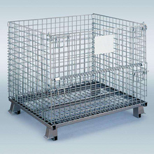 Stackable folding mesh basket pallet containers cage