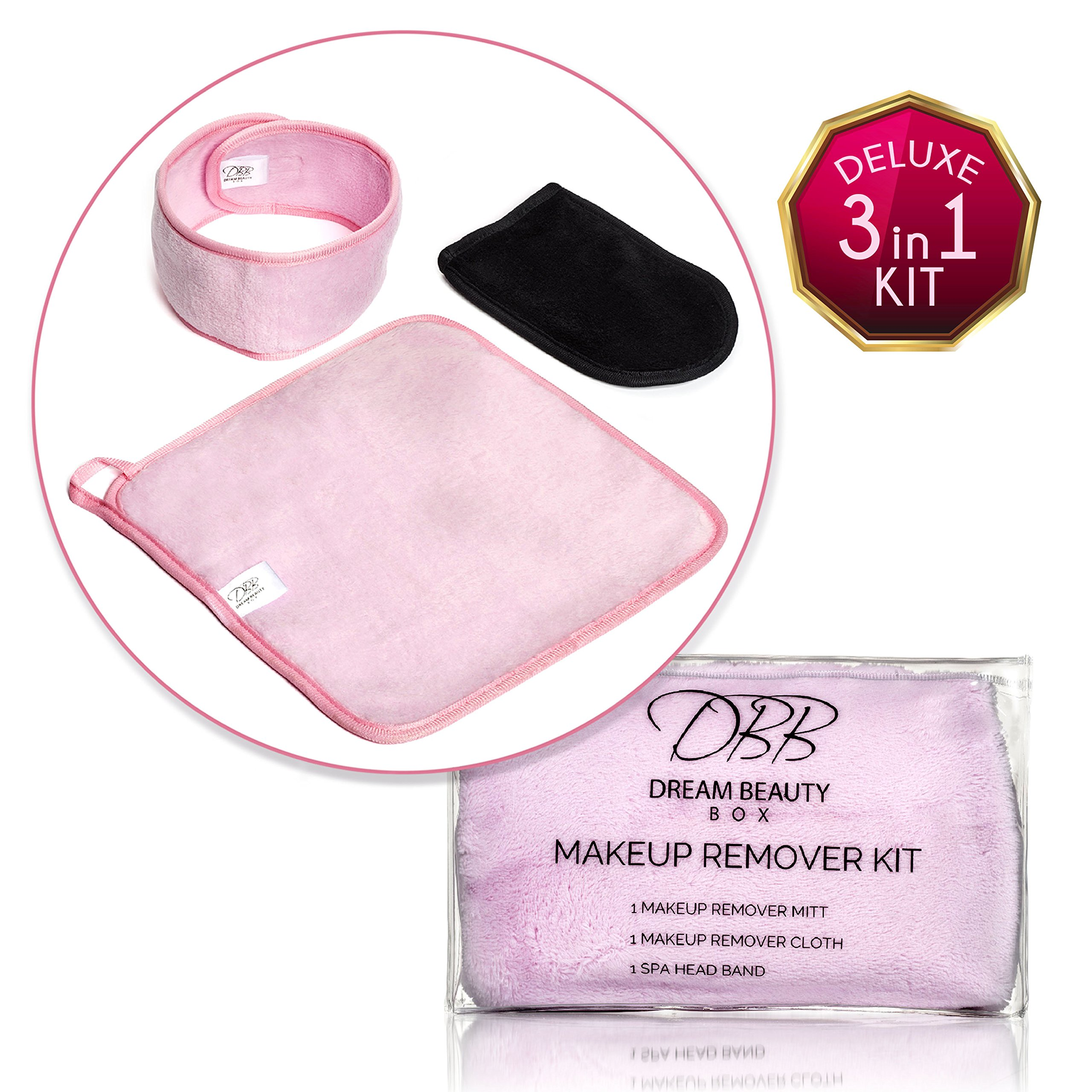 BEST MAKEUP REMOVER 3-in-1 Kit for Clean & Healthy Skin, Includes Spa Headband, Facial & Eye Cleansing Cloth Towels, & Exfoliator Mitt, Simple & Natural Solution for Sensitive, Acne-Prone, & Rosacea!