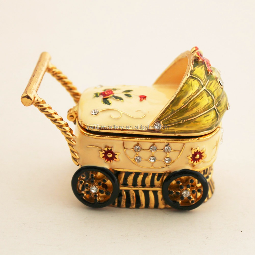 Baby Carriage Decorated Box with crystals