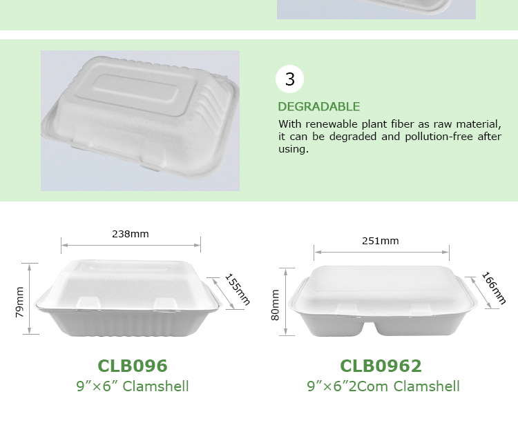 "Easy Green 9""*6"" Clamshell Lunch box food packaging container CLB096"