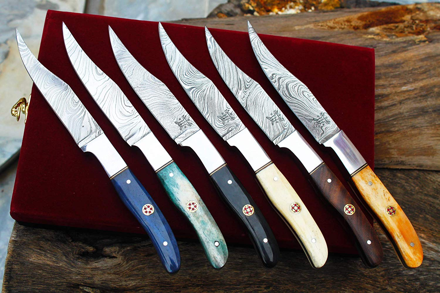 "Set of 6 Damascus Handmade 4.4"" Steak-Knives w/Bone, Horn,Walnut Wood,Olive, Horn Handle & Handmade Box UDK-S-B-03"