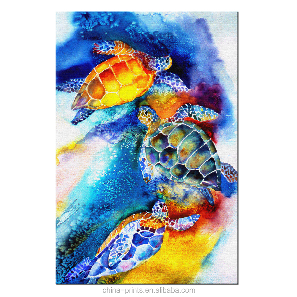 Abstract turtle painting canvas print watercolor painting art prints fashion living room decoration framed and stretched buy canvas wall artmulti panel
