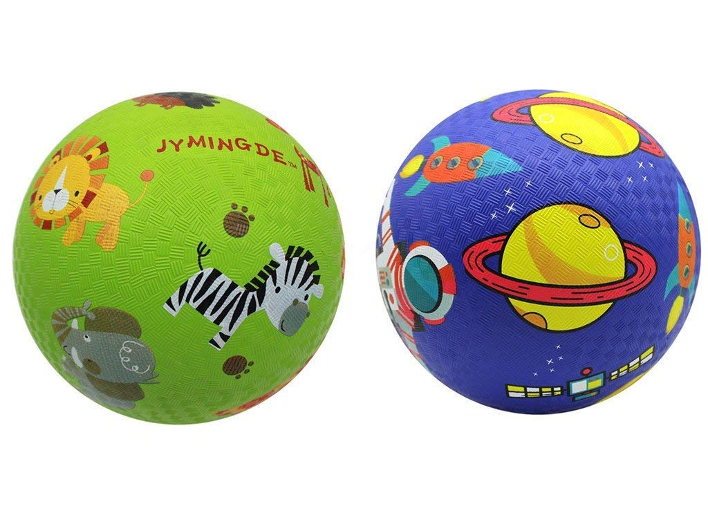 Mingde Kids Play Balls Set of 2 Playground Balls(8.5 inch) Children Practice clap Ball Rubber for Traning Safety Non-Toxic