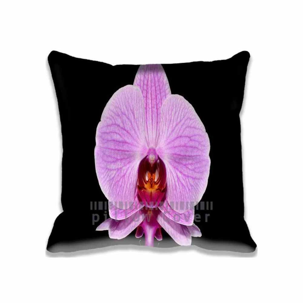 Orchid Arrangements Pillow Cases Decorative Pattern Standard Size, Custom Aero/Black Cushion Covers Square for Sofa Home Pillowcase with Zipper, 16x16 inches Twin Sides Print