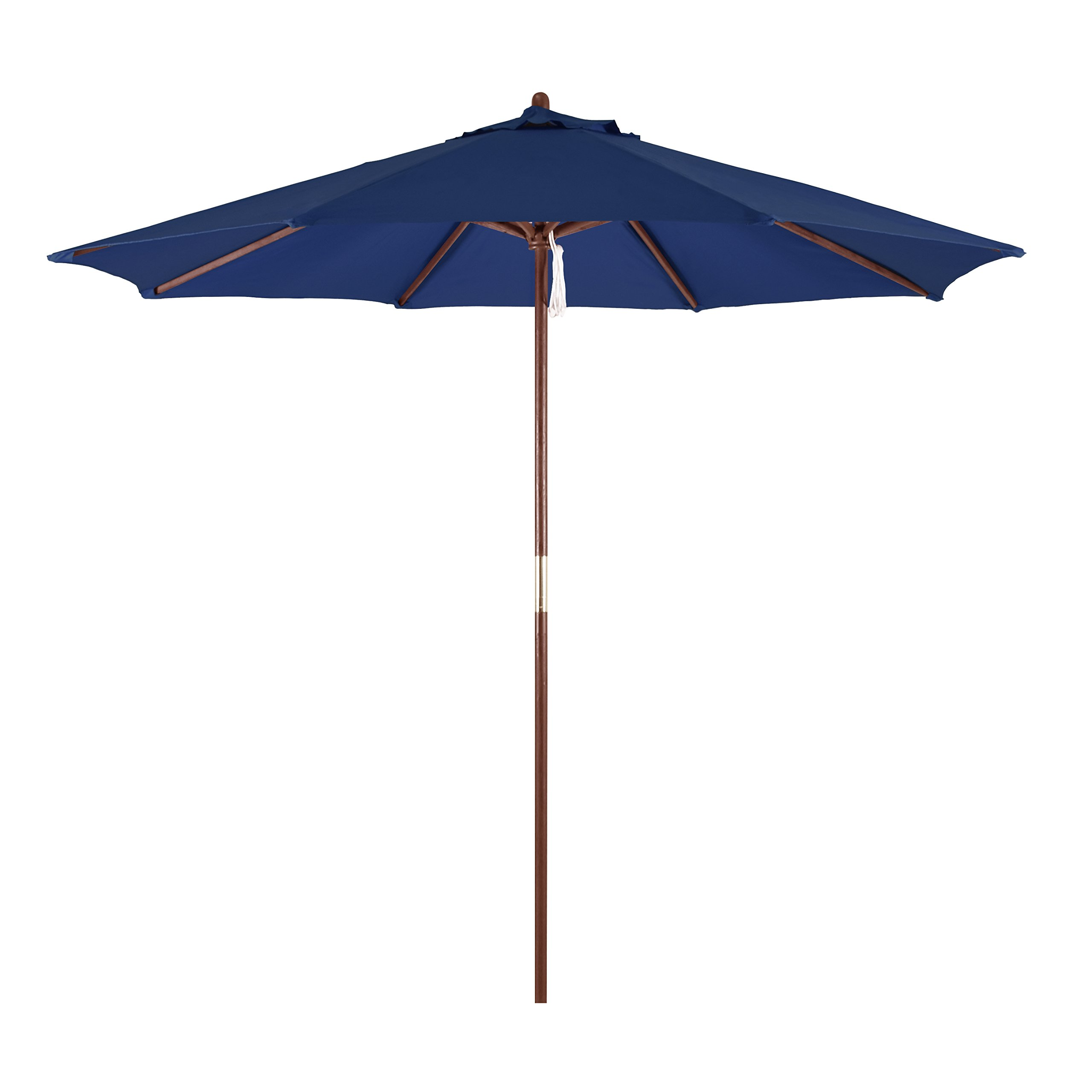 California Umbrella 9' Round Hardwood Frame Market Umbrella, Pulley Lift, Polyester Navy Blue