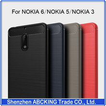 High Quality For Nokia 6 Back Case Silicone Carbon Fiber Brushed TPU Mobile Phone Cover For Nokia 5 / Nokia 3