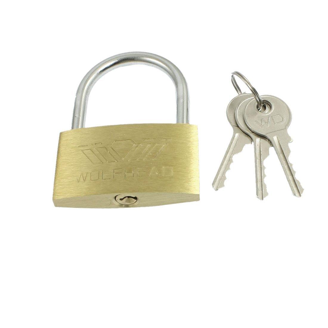 uxcell Cabinet Jewlery Box Packsack Brass 50mm Width Padlock Gold Tone w Keys