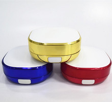free samples empty 15g red/yellow/blue rim square cosmetic air cushion compact foundation container with mirror