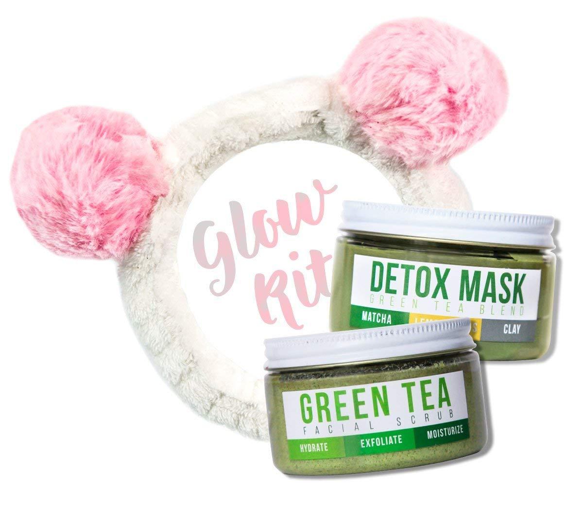 GREEN TEA DETOX FACE SCRUB & MASK By Teami | Organic Facial Scrubs Exfoliate, Hydrate, Moisturize All Skin Types | Uses the Best Exfoliating Sugar | Cleanse Skin (Glow Kit w/Bonus Headband)
