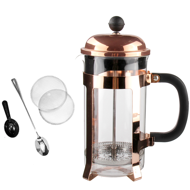 Rose Emas Elektroplating Warna Coffee Plunger Borosilikat Kaca French Press 350 Ml