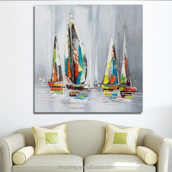 Sailing Boat Modern Hotel Decoration Canvas Wall Art Abstract Oil ...