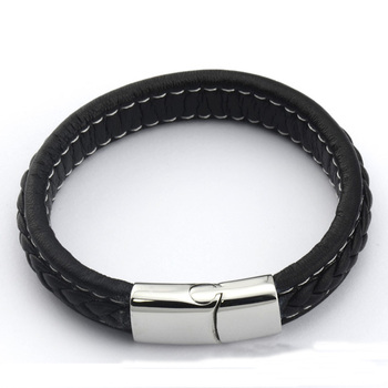 European and American popular wide flat black leather cord bangle bracelet