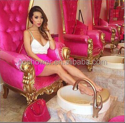 Pas cher PU chaise de salon de coiffure moderne confortable rose ...