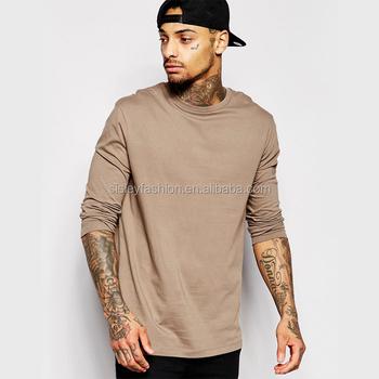 80f6cf3413967 Мужская мода длинная футболка с длинным рукавом Кожа плотная футболка  пустая футболка