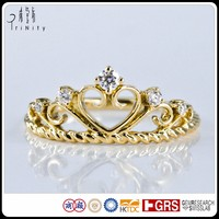 Delicate Rings Design Antique Heart Crown Shaped Real Diamond Ring in Yellow Gold