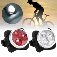 China Cycling Bicycle Bike 3 LED Head Front Rear Tail light Rechargeable Battery With USB Charging Cable 2 Color Available