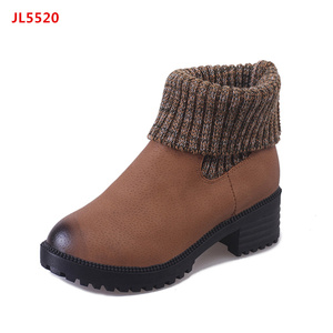 2017 Autumn Winter Women Ladies Chunky Heel Ankle Boots with Knitting combination