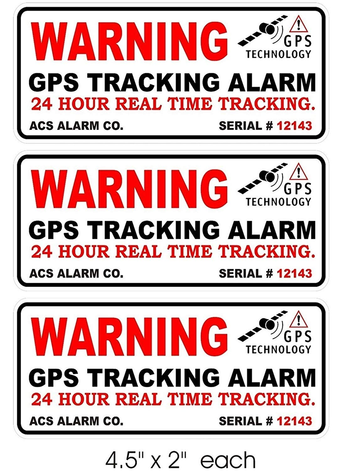 3 pcs premium popular outside warning gps tracking alarm sticker signs bike boat decals camera declare