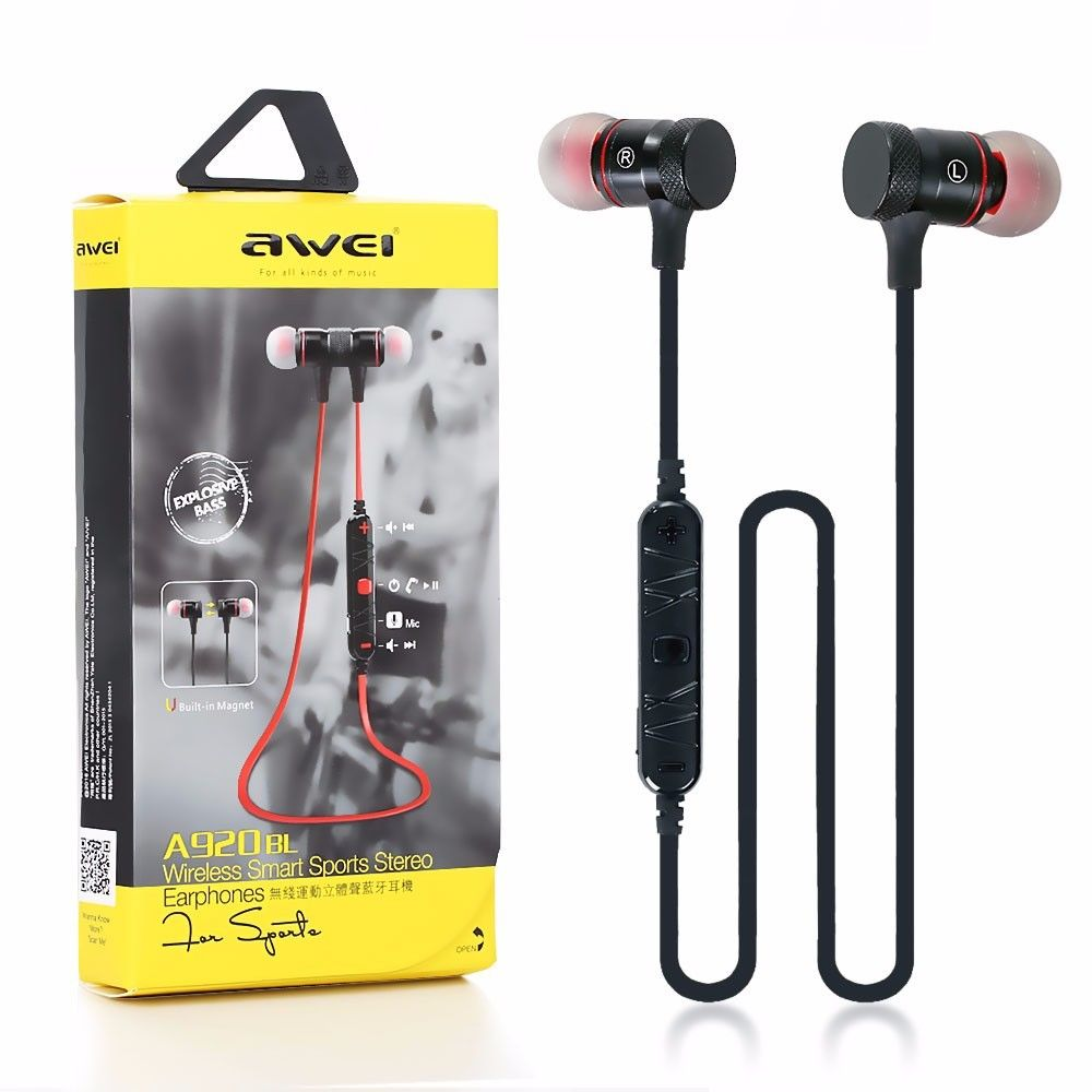 Original AWEI A920bl Wireless Bluetooth 4.0 Sport Stereo Noise Earbuds Headphones