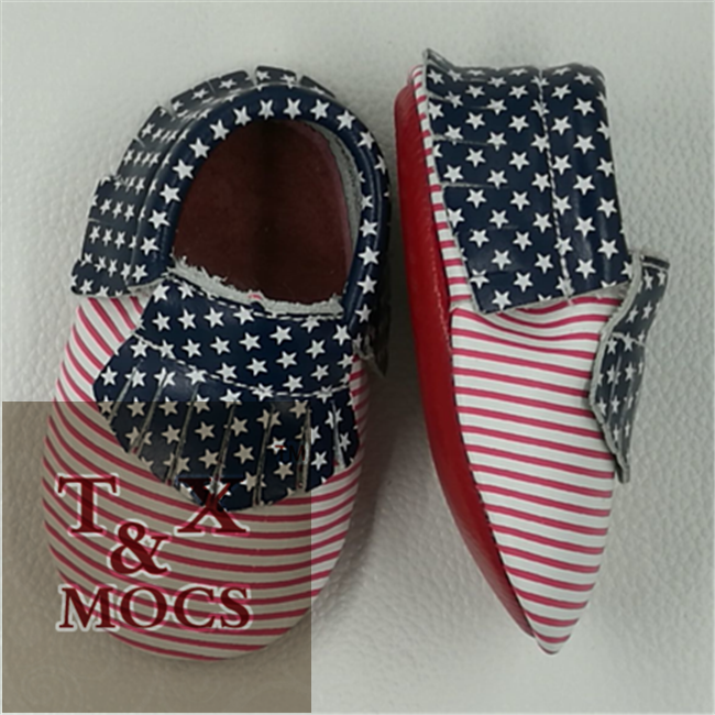american style sky blue leather baby shoes imported from china