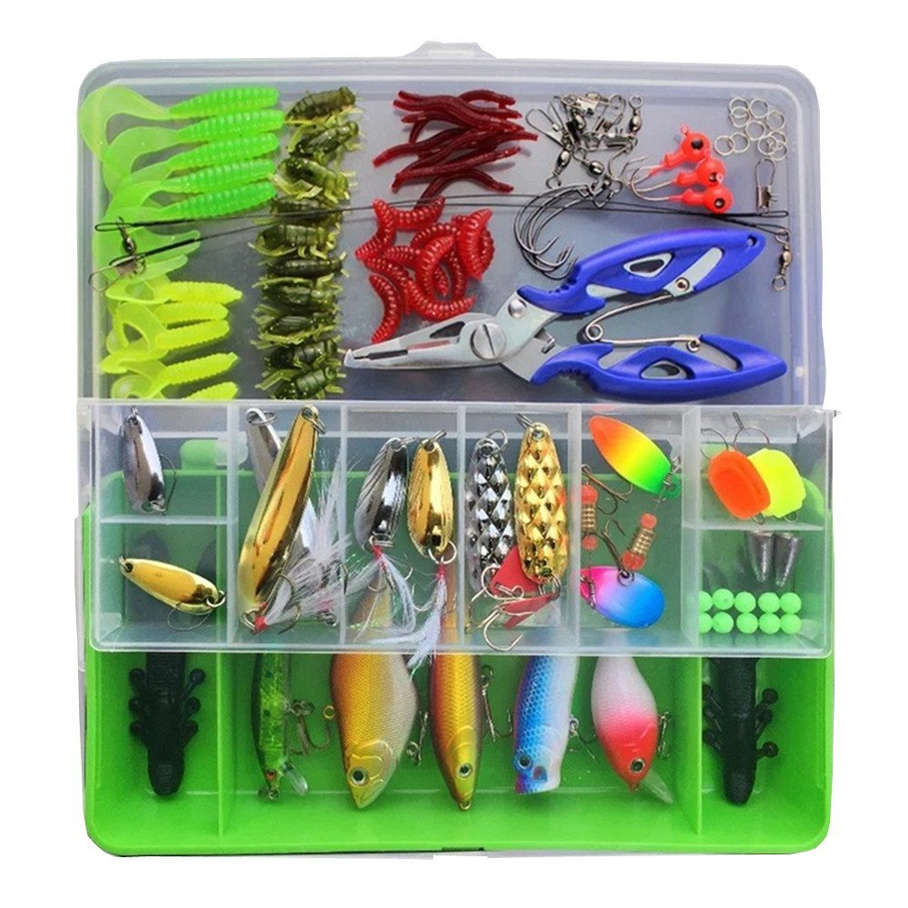 101Pcs / Set Fishing Lures Kits Mixed Universal Assorted Fishing Lure Set with Fishing Tackle Box - Including Spinners, Worm, Hard Lure,Sinking Lures,Minnow,Pliers,etc for Saltwater Freshwater Fishing