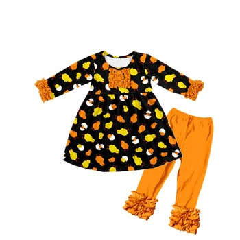 Wholesale baby girl dress set Easter new designed animal printed tunic and icing pants girls clothing