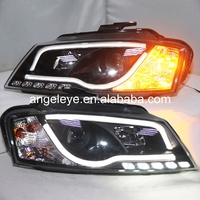 For Audi A3 LED Strip Headlight 2008 To 2012 Year Black Housing SN