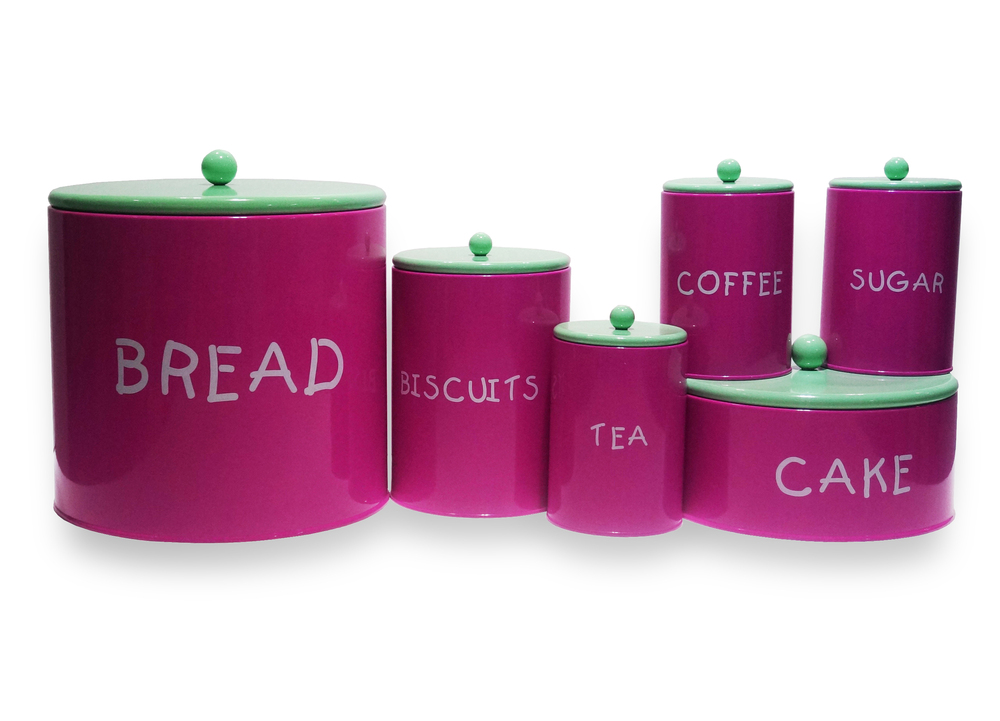 Colorful Kitchen Purple Tea Coffee Sugar Bread Box And Canister Set