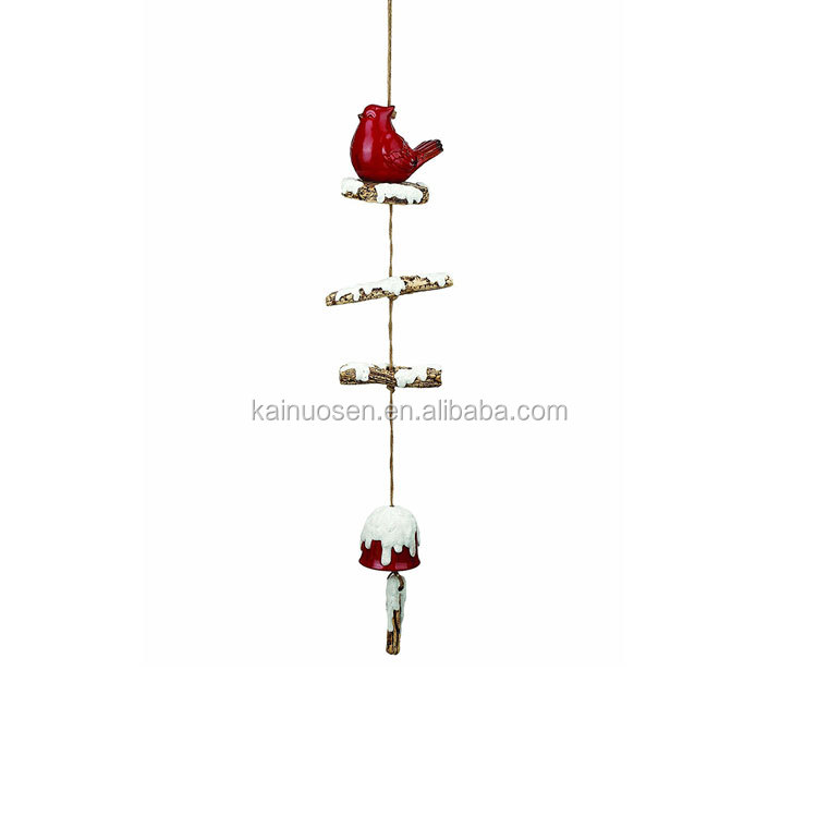 Red Cardinal Snow Frosted 40 Inch Ceramic Christmas Hanging Wind Chime