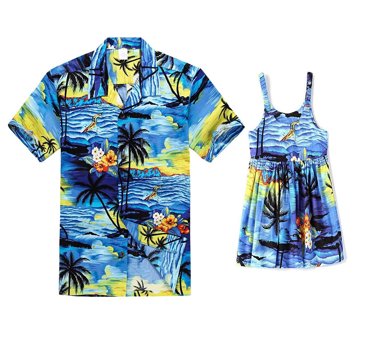 3f1603d2 Get Quotations · Hawaii Hangover Matching Father Daughter Hawaiian Luau  Outfit Men Shirt Girl Dress PW Red Sunset