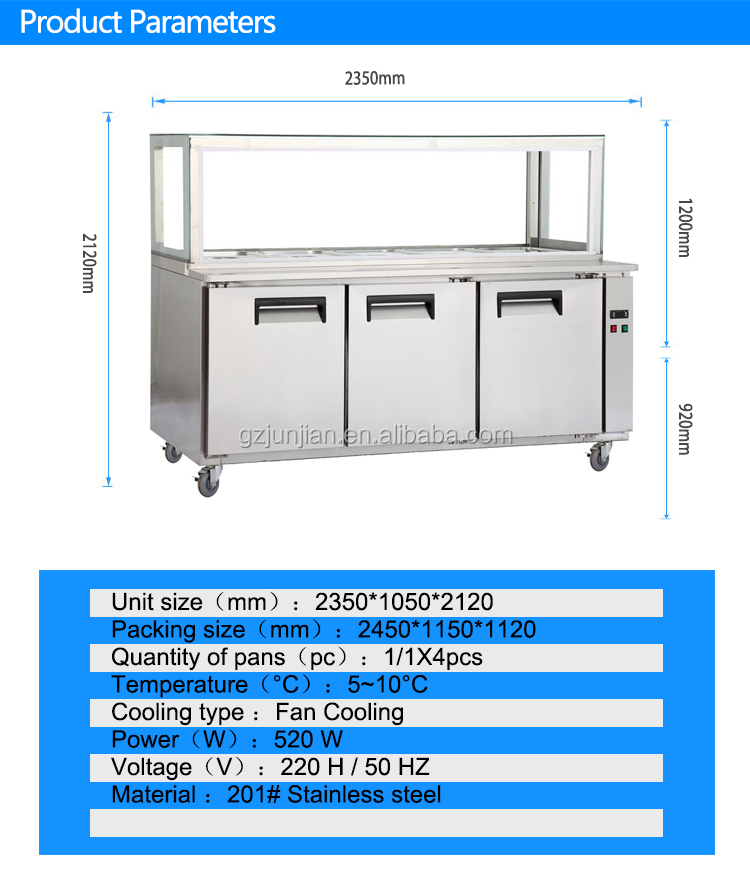 Stainless steel kitchen commercial workbench counter refrigerator freezer
