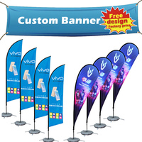Factory direct sale custom CMYK printing brand music mobile phone stand banners for promotion