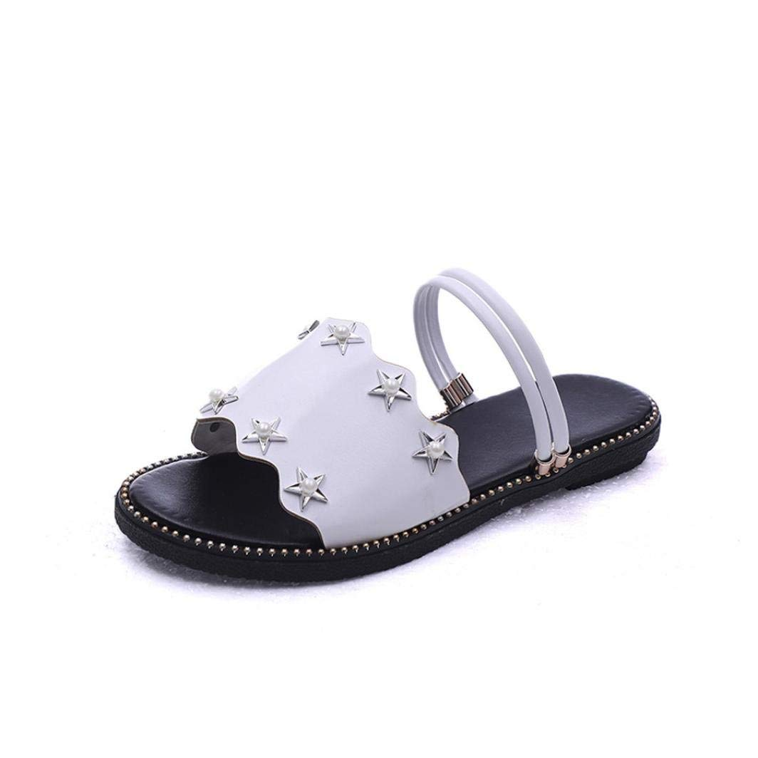 d550863250af2c Get Quotations · SUKEQ Women s Bling Star Bead Slides Sandals Slip On Flats  Slipper Comfort Wide Band Footwear Summer