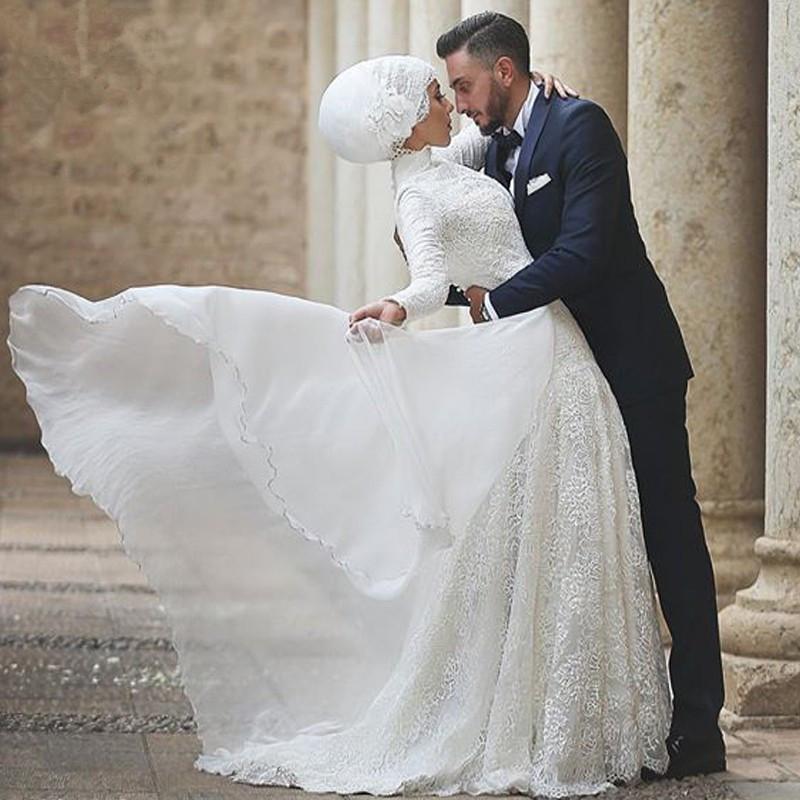 Fashion High Collar Lace Muslim Wedding Dress 2015 A Line