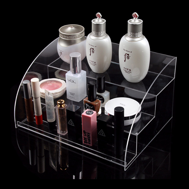 factory directly supply acrylic personnel care cosmetic step dsiplay rack organiser holder