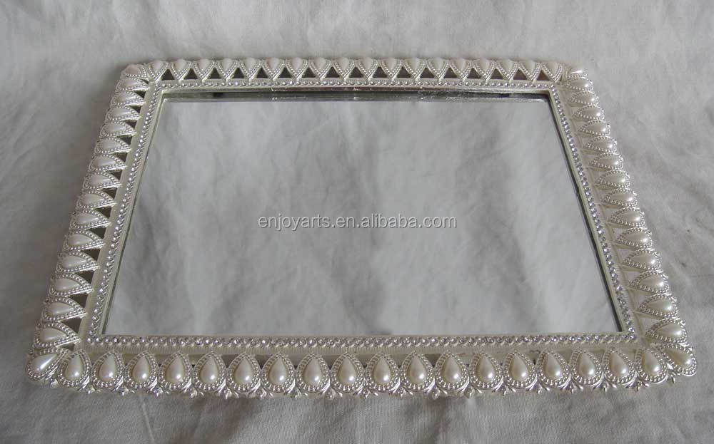 Silver Plated Pearls Metal Mirror Tray P06501c Buy